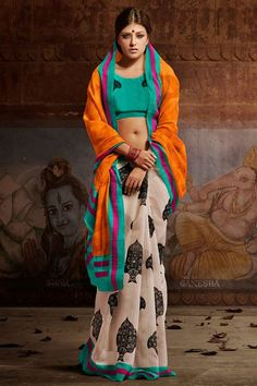 Splendid Orange, Cream, Teal Silk Printed Half-Half Saree
