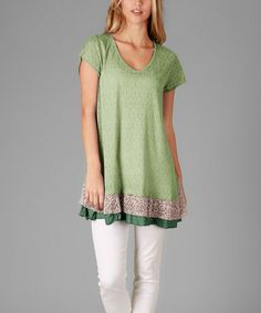 Green Jaquard Crochet-Ruffle Tunic - Plus #zulily #zulilyfinds