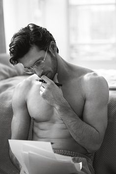 This shirtless hottie is a writer who just had his first novel published. Inspiring on two counts!