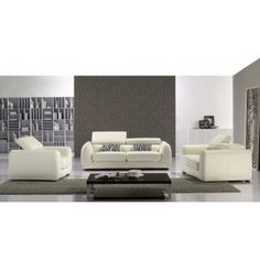 White Leather Sofa, Love Seat, Chair Set with Adjustable Headrests