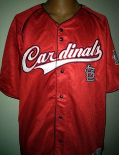 ST. LOUIS CARDINAL DYNASTY TRUE FAN EMBROIDERED BUTTON DOWN JERSEY ADULT XXLARGE #Dynasty #StLouisCardinals