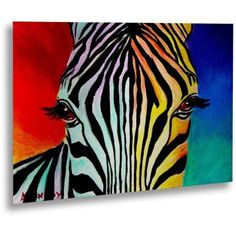 Trademark Fine Art Zebra Canvas Art by DawgArt, Floating Brushed Aluminum, 16 inch x 22 inch, Blue