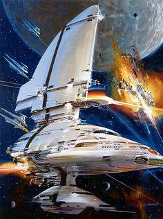 Pitched space battle, #spaceopera #scifi inspiration  Art: John Berkey