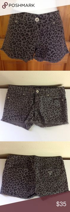 GUESS Grey Leopard Print Shorts MATERIAL: 98% Cotton 2% Spandex  CONDITION: Like New   CONCERNS: None   ⭐️ Feel free to ask questions or make an offer! ⭐️  📦 Next Day Shipping! Sunday - Thursday 📦 Guess Shorts