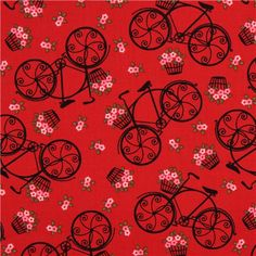 red romantic bike fabric by Timeless Treasures