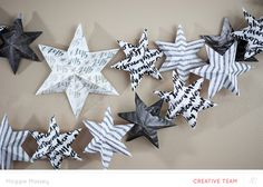 Fun New Year's star banner made from patterned paper scraps! Tutorial from Maggie Massey @studio_calico