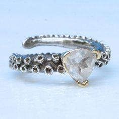 octopus tentacle engagement ring 14k gold with a by zulasurfing