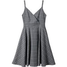 Gray 2xl Spaghetti Strap Surplice Neck Plaid Dress (660 THB) ❤ liked on Polyvore featuring dresses, plaid dresses, tartan plaid dress, gray plaid dress, surplice dresses and cross over dress