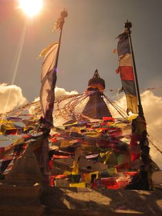 At PR we're celebrating National Yoga Month by sharing some of our own yoga stories. Photo: Boudhanath Stupa, one of the largest Buddhist stupas in the world. Kathmandu, Nepal, October Photo by Sara Lingafelter. Voyage Nepal, Monte Everest, Buddhist Shrine, Nepal Kathmandu, Himalaya, Prayer Flags, Temples, Photos Voyages, Historical Sites