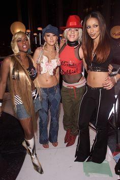 Lil Kim, Christina Aguilera, Pink and Mya 2000s Fashion Trends, Early 2000s Fashion, 90s Fashion, Fashion Outfits, Christina Aguilera, 2000s Party, Our Lady, Fashion History, Nostalgia