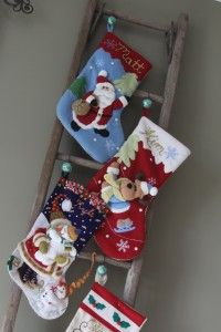 An Alternative To Putting Christmas Stockings On A Mantel – Rustic Antique Ladder Stocking Hanger