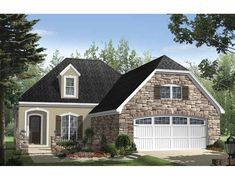 Home Plan HOMEPW13834 - 2000 Square Foot, 3 Bedroom 2 Bathroom + French Country Home with 2 Garage Bays | Homeplans.com
