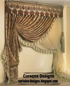 Luxury drapes curtain design for living room, Italy curtain models