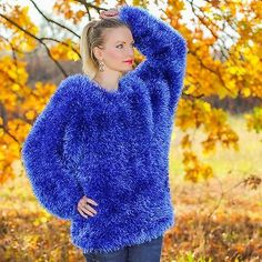 SUPERTANYA BLUE Hand Knitted Eyelash Sweater Non Mohair Fuzzy Jersey Top Blouse