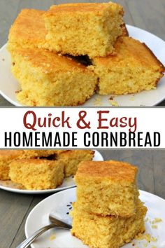 Easy Homemade Cornbread recipe - Simple Buttery Cornbread recipe You are going to love this easy homemade cornbread recipe from scratch. This recipe tastes better than store bought cornbread and will save you money too! Buttery Cornbread Recipe, Cornbread Recipe From Scratch, Healthy Cornbread, Honey Cornbread, Homemade Cornbread, Cornbread Muffins, Cornbread Recipe Without Cornmeal, Paula Deen Cornbread, Cornmeal Cornbread