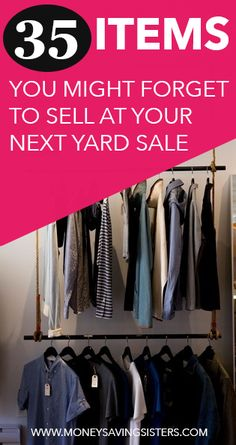 Here's a list of 35 items that you might look over when gathering your yard sale items.but you should DEFINITELY sell them! Here's a list of 35 items that you might look over when gathering your yard sale items.but you should DEFINITELY sell them! Garage Sale Organization, Garage Sale Tips, Garage Sale Pricing, Yard Sale Signs, For Sale Sign, Car Boot Sale Display, Yard Sale Displays, Sell Your Stuff, Things To Sell