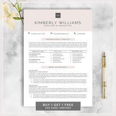 Professional Resume Template Cv Template For Ms Word Creative
