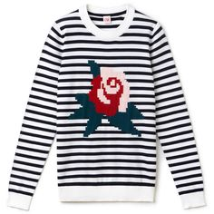 Lacoste LIVE Lacoste LIVE crew neck sweater in striped jersey with... (£125) ❤ liked on Polyvore featuring tops, sweaters, floral print sweater, nautical sweater, floral print top, crew-neck sweaters and rose sweater