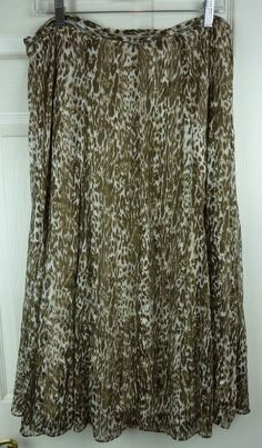 Jones New York Womens Shear Lined Brown & White Animal Print Full Skirt Size 12 #JonesNewYork #ALine