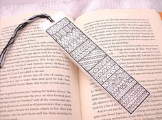 Pen and ink bookmark, original zentangle art, illustrated by PeachPod, $6.00  #bookmark #zentangle #monochrome