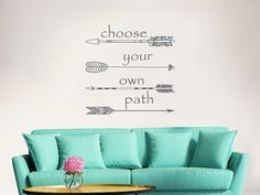 Wall Decal Quote Arrow Vinyl Sticker Decals Quotes Choose your own Path Arrows Wall Decal Quote Wall Decor Bohemian Decal Boho Sticker