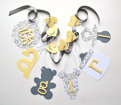 Yellow and grey baby shower decorations it's a by ParkersPrints, $16.50