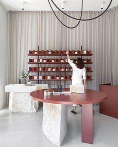 @studio_autori have revealed a dreamy interior scheme for Sofi natural cosmetics in Belgrade, Serbia (🇷🇸 represent ✊🏼). Sheer curtains… Interior Architecture, Interior Design, Corten Steel, Sheer Curtains, Natural Cosmetics, Store Design, Terracotta, Color Inspiration, Place Card Holders