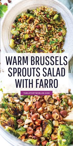 The perfect springtime salad! This warm roasted brussels sprouts salad with farro is tossed in a delicious Dijon shallot dressing that is flavorful and a delight! The hazelnuts give this salad that extra crunch and texture! Farro Recipes, Vegetarian Recipes, Cooking Recipes, Healthy Recipes, Warm Salad Recipes, Vegetarian Grilling, Healthy Grilling, Skinny Recipes, Pasta Recipes