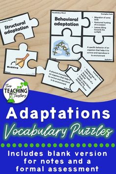 Use these fun puzzles to support your plant and animal adaptations curriculum. The puzzles come in 2 versions for student engagement and differentiation. Completed puzzles are great for centers, stations, and small groups. Blank puzzles are graphic organizers for notes or anchor charts. Includes a worksheet assessment. Teachers save time by using these activities. #adaptations #lessons #activities 5th Grade Science, Elementary Science, Teaching Science, Life Science, Science Lessons, Teaching Tips, Vocabulary Activities, Science Resources, Science Activities