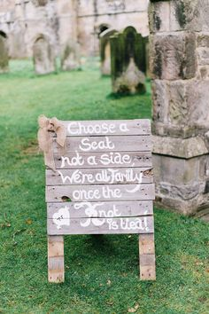 'Choose a seat and not a side' rustic wooden sign | Photography by http://georginaharrisonphotography.co.uk/
