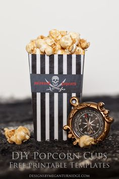 DIY Popcorn Cups - FREE printable and Photoshop templates so you can create your own popcorn cups for any occasion or party theme! a MeganTurnidge