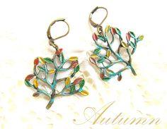 Verdigris patina on bronze trees-Autumn earrings LEI la afterforever. Trees, Bronze, Autumn, Personalized Items, Earrings, Jewelry, Design, Ear Rings, Stud Earrings