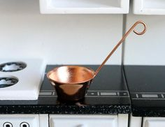 DOLLHOUSE MINIATURE COLLECTIBLE Food Kitchen Cookware DISTRESSED FISH POACHER