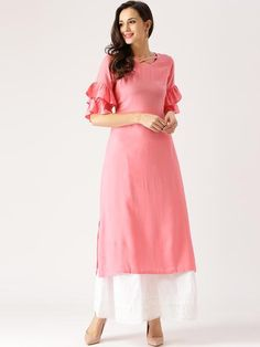 Pink Solid Straight Kurta Plain Kurtis Three-Quarter Sleeves Long Kurtas. Kurtis & Kurtas Straight Kurta Plain Kurtis Long Kurtas Available At Ladyindia.com.