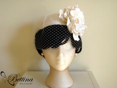 VintageChic  Ivory white silk cocktail hat by BettinaMillinery, $300.00  Does great custom work - has good album on Facebook of actual brides