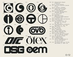 O-12  Collection of vintage logos from a mid-70's edition of the book World of Logotypes.