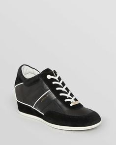 Dkny Woman Mesh, Leather And Suede Wedge Sneakers Black Size 6.5 DKNY