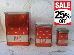 New Vintage Soviet Polka Dot Red Tin Boxes for Kitchen by Astra9