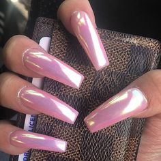 Long coffin nails gel pink simple chrome wedding purple in 2019 ногти, ма. Winter Nail Designs, Nail Polish Designs, Acrylic Nail Designs, Acrylic Nails, Nails Design, Pink Chrome Nails, Pink Nails, Matte Nails, Black Nails