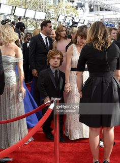 Actor Peter Dinklage and wife Erica Schmidt arrives at the 65th Annual Primetime Emmy Awards held at Nokia Theatre L.A. Live on September 22, 2013 in Los Angeles, California.
