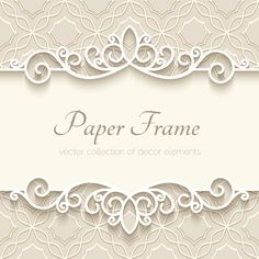 Paper frame with beige background vector 02