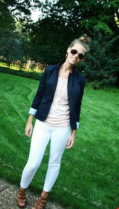 Blazer. White pants. What's not to love.