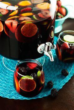 Red Sangria, Paloma, Mango Slush Punch With Roscato Rosso Dolce, Brandy, Orange Juice, Orange, Lime, Strawberries, Blackberries, Silver Tequila, Chamomile, Lime, Mango, Fruit Juice, Ice, Ginger Ale