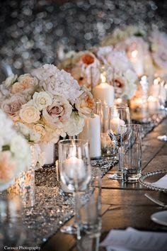 Dusty Rose + Cream Colored #Centerpieces with Sequin Runner I Soirée Weddings & Events I http://www.weddingwire.com/biz/soire-weddings-events-chicago/portfolio/38c34e31cf60be57.html?page=1&subtab=album&albumId=a98189972b2c1cdf#vendor-storefront-content