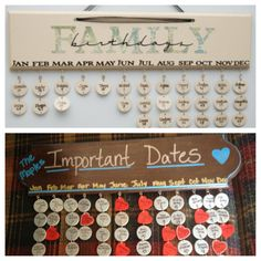 Family birthday boards. I really like this idea.