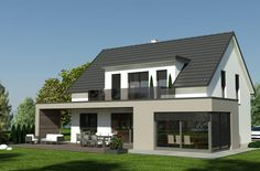 Prefabricated house Styria, prefabricated house massive, prefabricated house turnkey, brick house, p Dormer Bungalow, Modern Bungalow House, Modern House Design, Terrace Design, Facade Design, Exterior Design, Bungalow Extensions, House Extensions, Bungalow Renovation