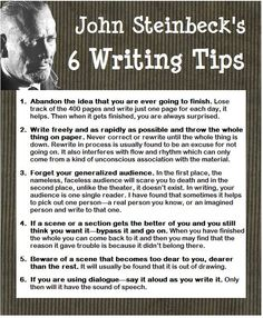 John Steinbeck's writing tips. I think I read all his books once upon a time.