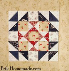 Footstool Block photo--Ben Franklin Mystery Quilt Block 26 Quilt Block Patterns, Pattern Blocks, Quilt Blocks, Civil War Quilts, Patriotic Quilts, Quilt Of Valor, Blue Quilts, Mini Quilts, Log Cabin Quilts