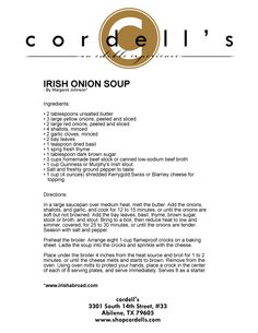 Irish Onion Soup...yum!