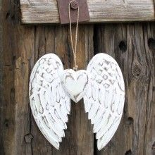 Hand Crafted Angel Wing & Heart £5.95 Vintage style distressed feather wood angel wings, hand carved from sustainable albesia wood and finished in white washed process.  Each decoration is distressed by hand giving each piece it's own uniqueness.   These pretty angel wings make a lovely gift or home decoration, looking pretty hanging on a wall or door or even propped up on a shelf.